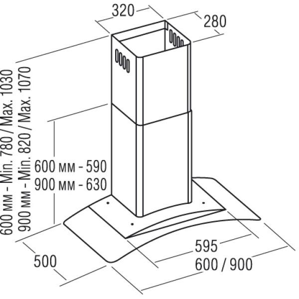 Вытяжка САТА GAMMA VL3 900 GLASS INOX