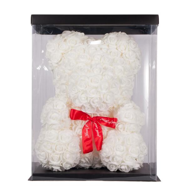 Мишка из роз TEDDY ROSE BEAR белый (8012)