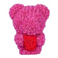 270x270-Мишка из роз с сердцем TEDDY ROSE BEAR розовый (8023)