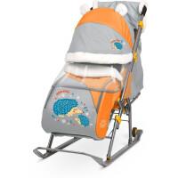 Санки-коляска НИКА Детям 6 Ежик (оранжевый/серый)