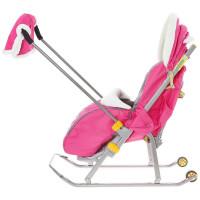Санки-коляска Ника НД6 Снегири (розовые)