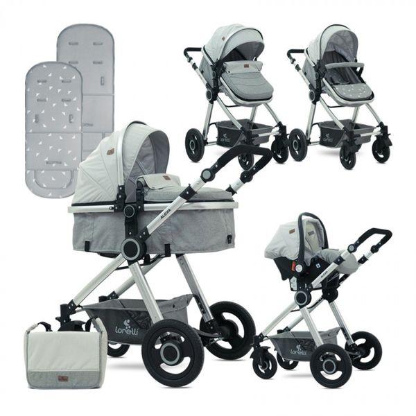 Детская коляска LORELLI Alexa 3в1 (серый)