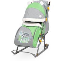 270x270-Санки-коляска НИКА Детям 6 Енот (зеленый/серый)