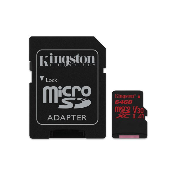 Карта памяти KINGSTON Canvas React 64GB (UHS-I U3 V30 A1)