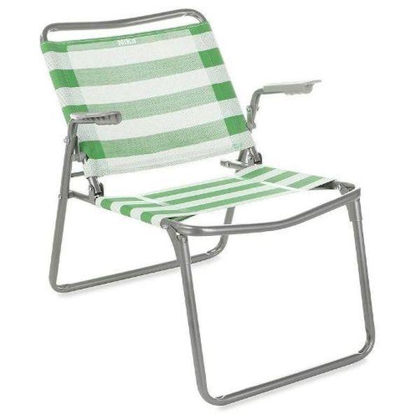 Кресло-шезлонг Nika К1 (зеленый/белый)