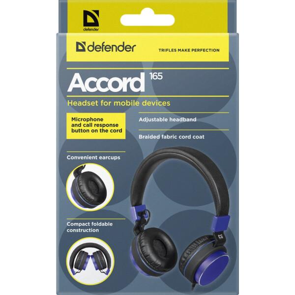 Гарнитура для смартфонов Defender Accord 165 (черный/синий)