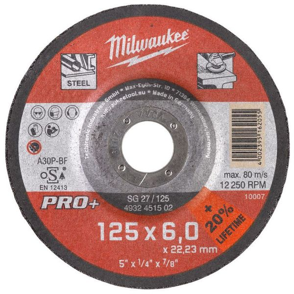 Диск шлифовальный по металлу MILWAUKEE SG 27/125 125мм/6мм 4932451502