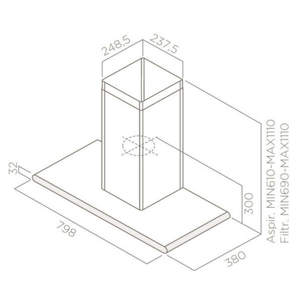 Кухонная вытяжка Elica GALAXY BLIX/A/80