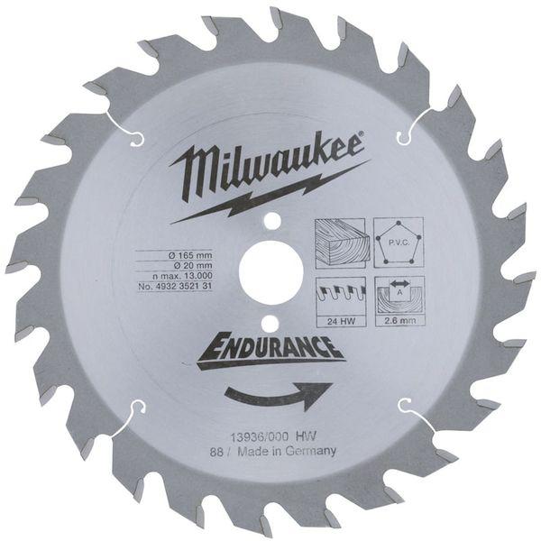 Диск пильный (по дереву) MILWAUKEE D 165х20х2.6 мм 24Z  4932352131