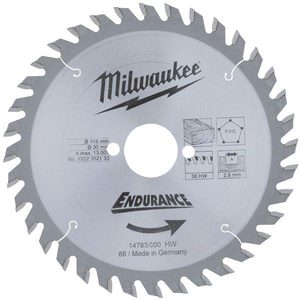 Диск пильный (по дереву) MILWAUKEE D 165х30х2.6 мм 36Z  493235213