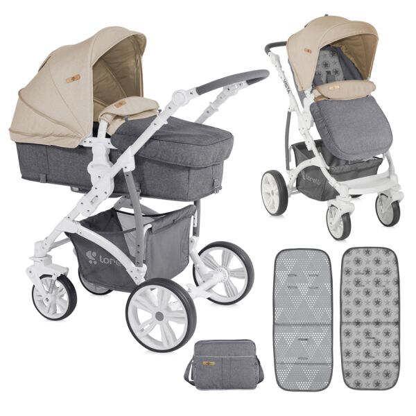 Детская коляска Lorelli Vista 2017 Grey&Beige Cities (10020971747)