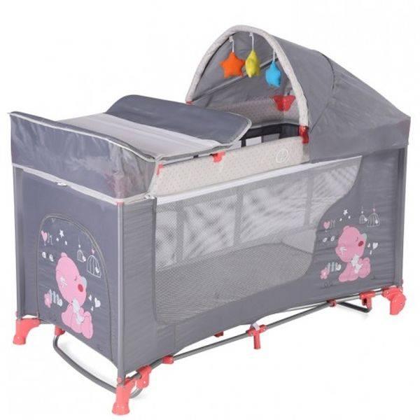 Манеж-кровать LORELLI Moolight Rocker Pink Grey My Babya