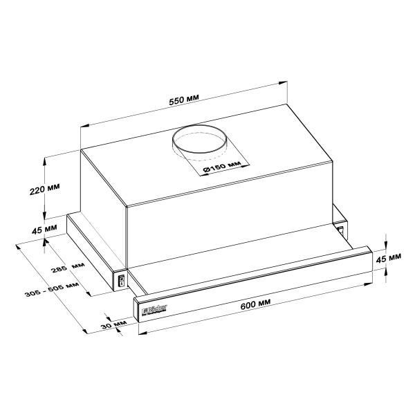 Кухонная вытяжка BACKER TH 60L-2F200-WG