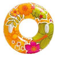 270x270-Надувной круг INTEX Transparent Tubes (оранжевые цветы) 58263NP