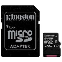 Карта памяти KINGSTON microSDHC 64GB+ SD Adapter black (SDC10G2/64GB 10 UHS-I U1)