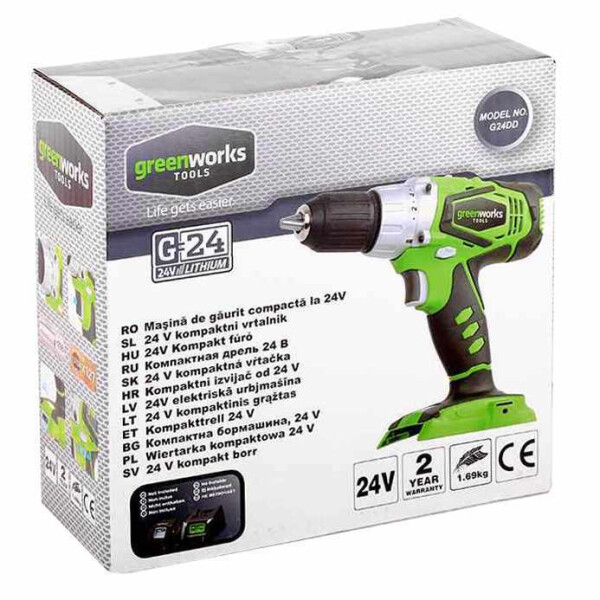 Аккумуляторная дрель-шуруповерт Greenworks G24DD без АКБ и ЗУ (3701507)