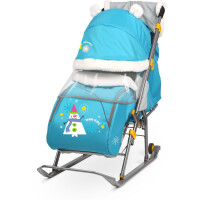 270x270-Санки-коляска Ника Детям 6 / НД6 (снеговик, бирюзовый)