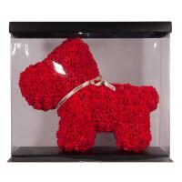 Собачка из роз TEDDY ROSE BEAR красный (8019)